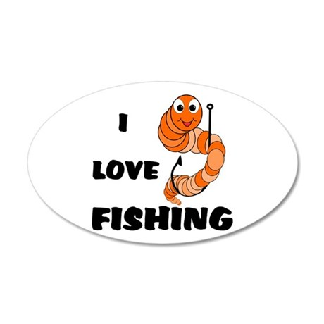 I Love Fishing 22x14 Oval Wall Peel