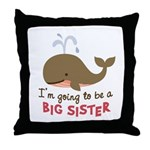 Big Sister to be - Mod Whale Throw Pillow