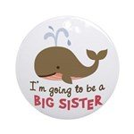 Big Sister to be - Mod Whale Ornament (Round)
