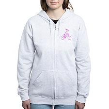 Bicycle Girl- Pink Zip Hoody
