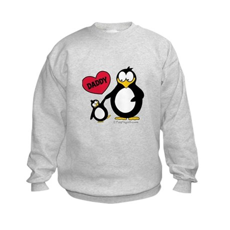 Heart Daddy Penguin Kids Sweatshirt