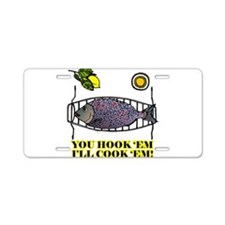 You Hook 'Em Fishing Aluminum License Plate