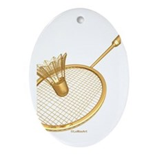 Unique Badminton Oval Ornament