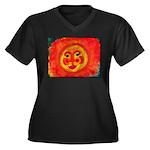 Sun Face Women's Plus Size V-Neck Dark T-Shirt