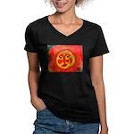 Sun Face Women's V-Neck Dark T-Shirt