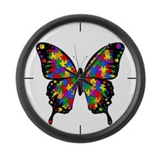 Autism Butterfly Large Wall Clock
