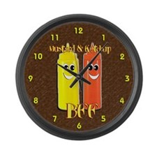 Mustard and Ketchup Large Wall Clock