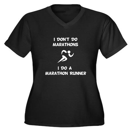 Do A Marathon Runner Women's Plus Size V-Neck Dark