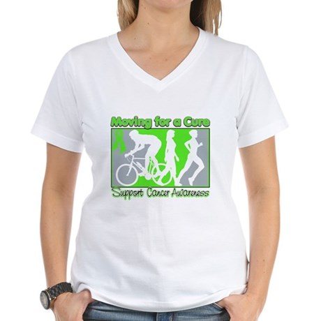 Moving For a Cure Lymphoma Women's V-Neck T-Shirt