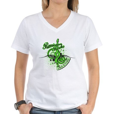 Remission Rocks Lymphoma Women's V-Neck T-Shirt