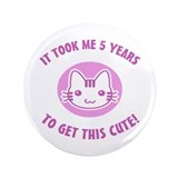 "Cute 5th Birthday (Pink) 3.5"" Button"