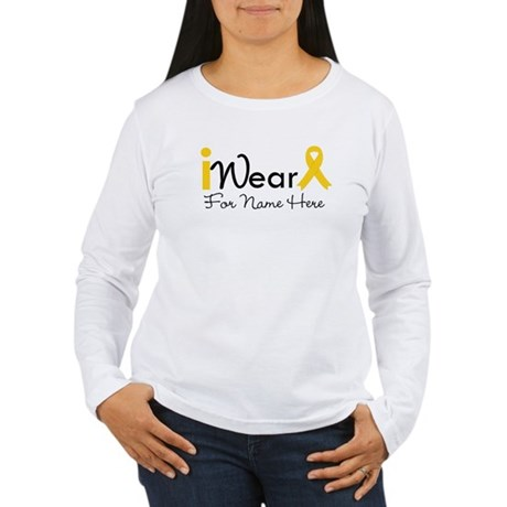 Personalize Childhood Cancer Women's Long Sleeve T