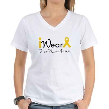 Personalize Childhood Cancer Women's V-Neck T-Shir