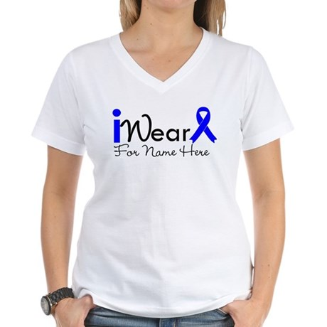 Personalize Colon Cancer Women's V-Neck T-Shirt