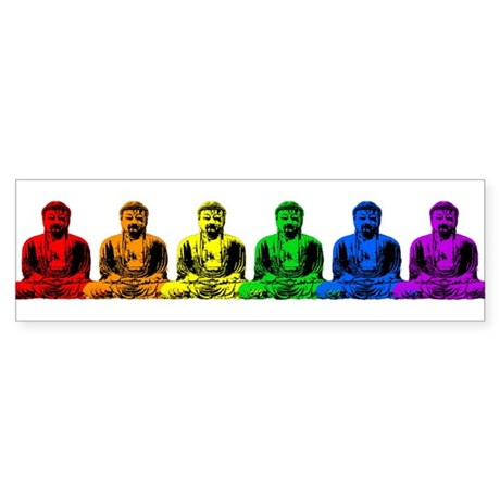 Row of Rainbow Buddha Statues Bumper Sticker