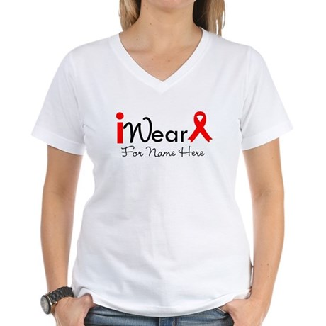 Personalize Heart Disease Women's V-Neck T-Shirt