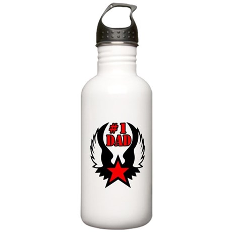 Number One Dad Star with Wing Stainless Water Bott