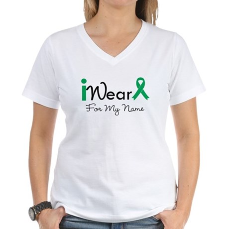 Personalize Liver Cancer Women's V-Neck T-Shirt