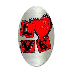 gRUNGE LOVE HEART 38.5 x 24.5 Oval Wall Peel