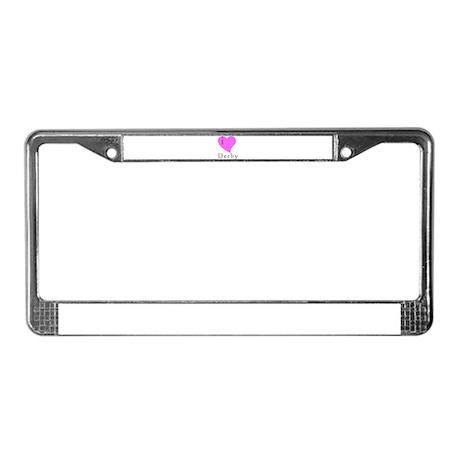 I heart Derby (pink) License Plate Frame