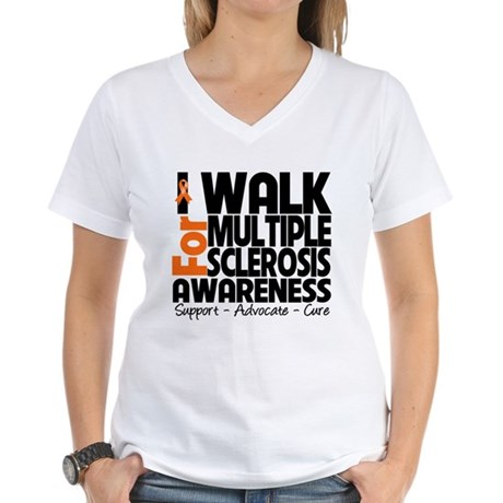 I Walk Multiple Sclerosis Women's V-Neck T-Shirt