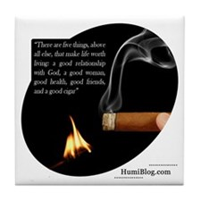 Sturdy Tile Coaster with Cigar and Quote