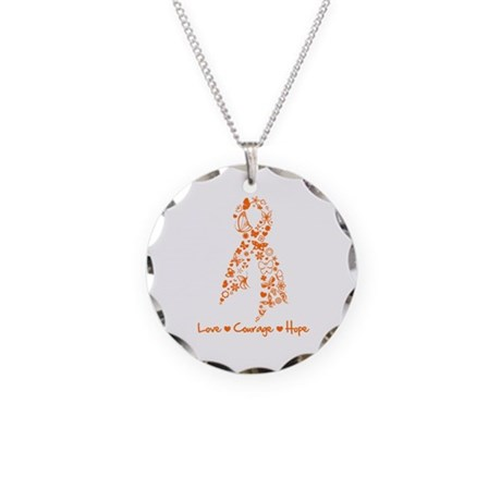 Ribbon Multiple Sclerosis Necklace Circle Charm
