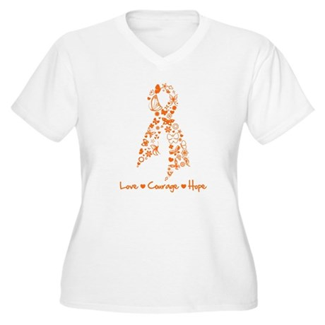 Ribbon Multiple Sclerosis Women's Plus Size V-Neck