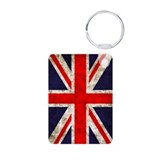Grunge UK Flag Aluminum Photo Keychain
