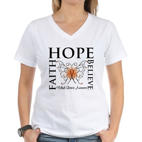 Hope Faith Multiple Sclerosis Women's V-Neck T-Shi