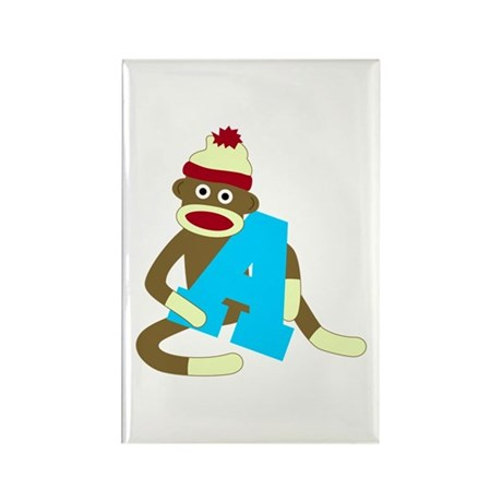 Sock Monkey Monogram Boy A Rectangle Magnet