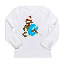 Sock Monkey Monogram Boy C Long Slv Baby T-Shirt