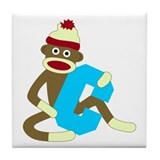 Sock Monkey Monogram Boy C Tile Coaster
