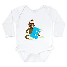 Sock Monkey Monogram Boy E Long Sleeve Bodysuit