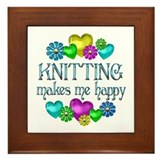 Knitting Happiness Framed Tile