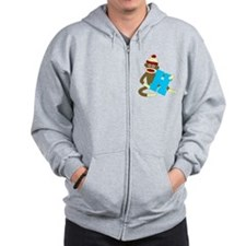 Sock Monkey Monogram Boy H Zip Hoodie