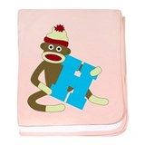 Sock Monkey Monogram Boy H baby blanket