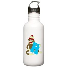 Sock Monkey Monogram Boy H Water Bottle