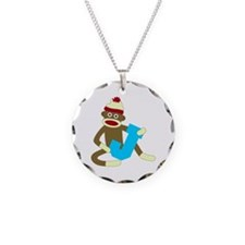 Sock Monkey Monogram Boy J Necklace Circle Charm