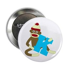 "Sock Monkey Monogram Boy K 2.25"" Button"