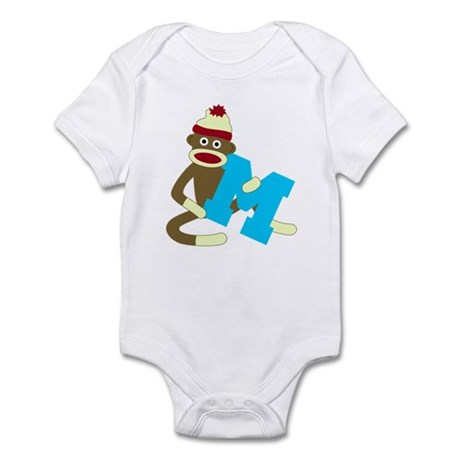 Sock Monkey Monogram Boy M Infant Bodysuit