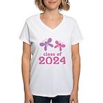 2024 Girls Graduation Women's V-Neck T-Shirt