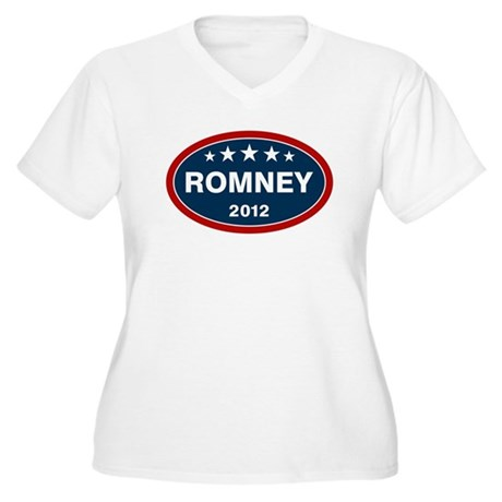 Romney 2012 [blue] Women's Plus Size V-Neck T-Shir