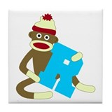 Sock Monkey Monogram Boy R Tile Coaster