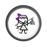 Girl & Microscope Wall Clock