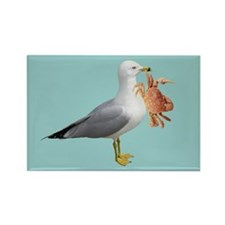Seagull Crab Blue Rectangle Magnet