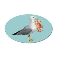 Seagull Crab Blue 38.5 x 24.5 Oval Wall Peel