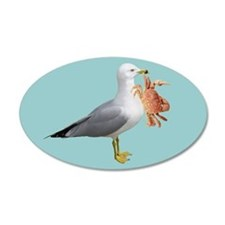 Seagull Crab Blue 22x14 Oval Wall Peel