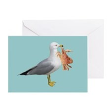 Seagull Crab Blue Greeting Card