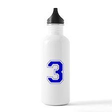 Varsity Font Number 3 Blue Water Bottle